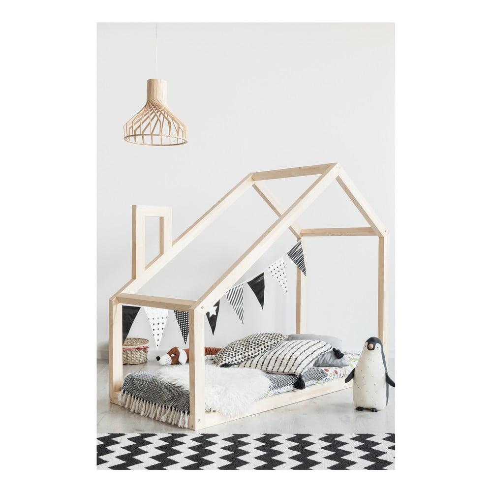 Łóżko dziecięce w kształcie domku z drewna sosnowego Adeko Mila DM, 90x180 cm