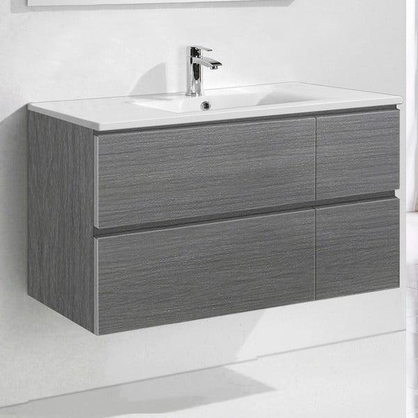 Szafka do łazienki z umywalką i lustrem Capri, odcień szarości, 100 cm