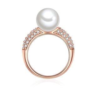 Perłowy pierścionek Muschel, rosegold z białą perłą, rozm. 52