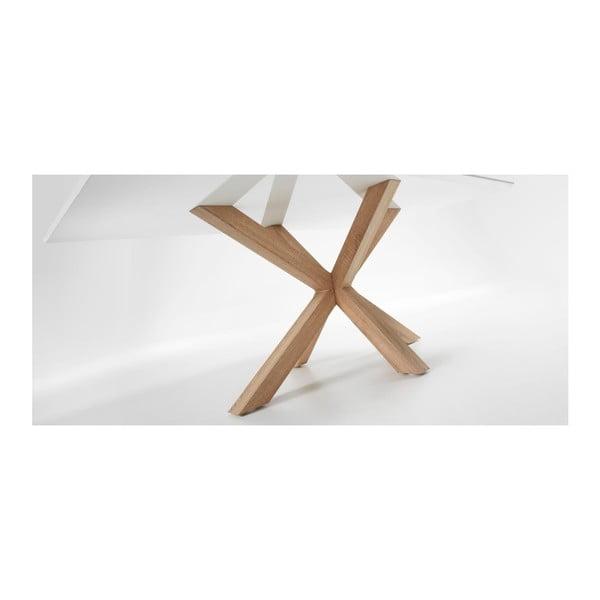 Stół do jadalni z białym blatem i drewnianymi nogami La Forma Arya,90x160cm