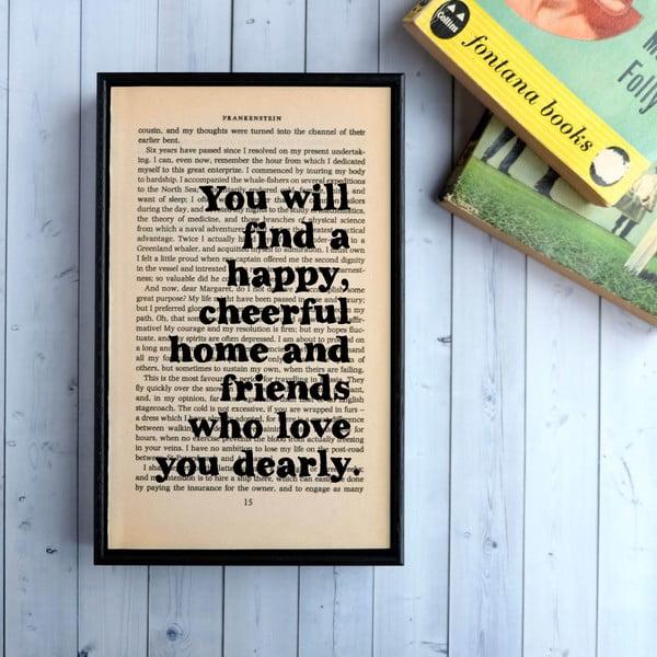 Plakat w   drewnianej ramie Frankenstein Happy Home