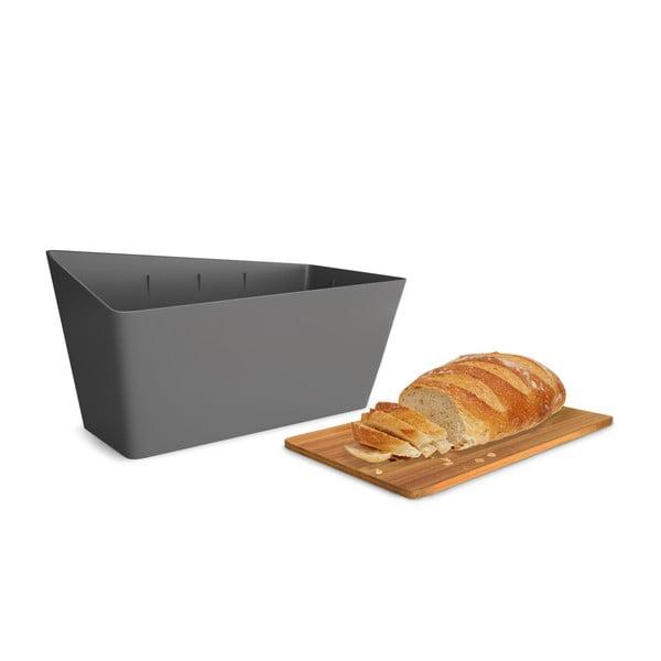 Chlebak z deską do krojenia Bread Bin, szary