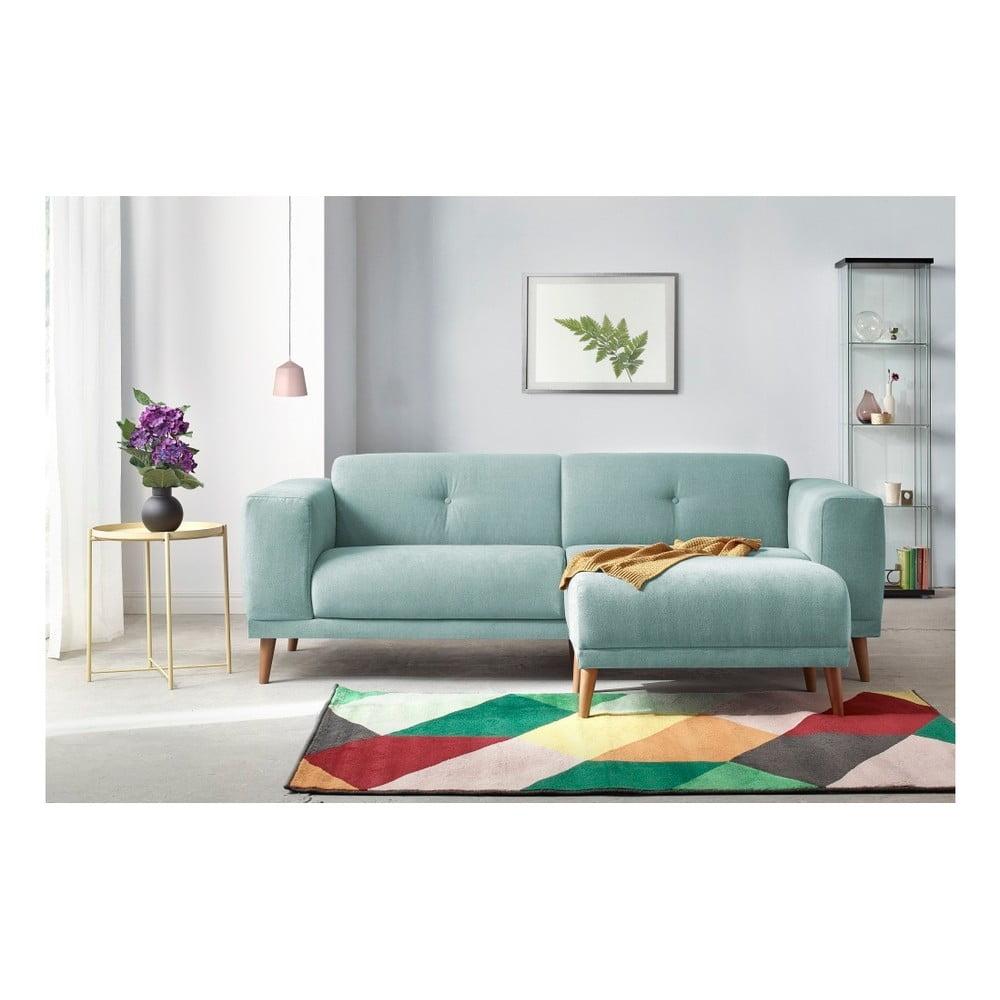 Błękitna sofa 3-osobowa z podnóżkiem Bobochic Paris Luna