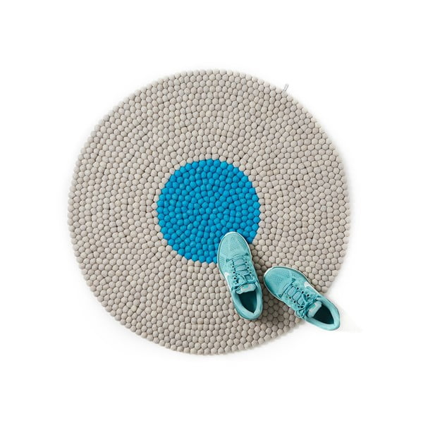 Wełniany dywan Wool Mat Round Turquoise, 90x90 cm