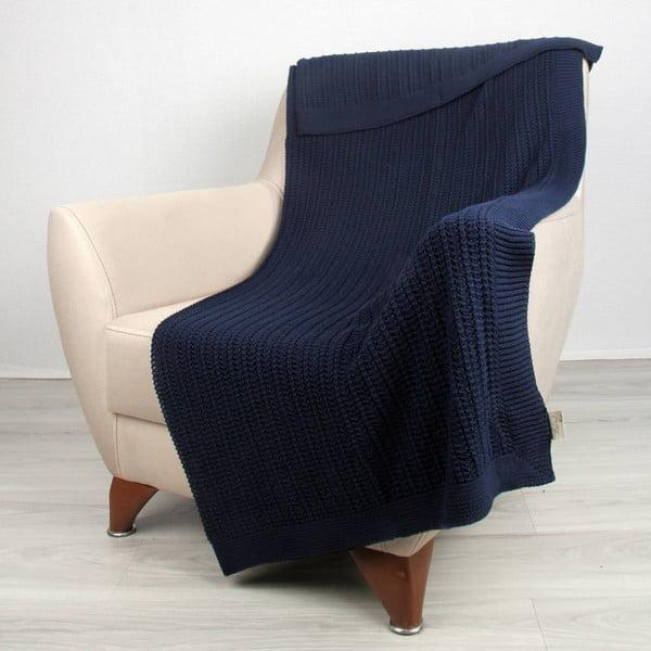 Niebieski koc bawełniany Carla, 170x130 cm