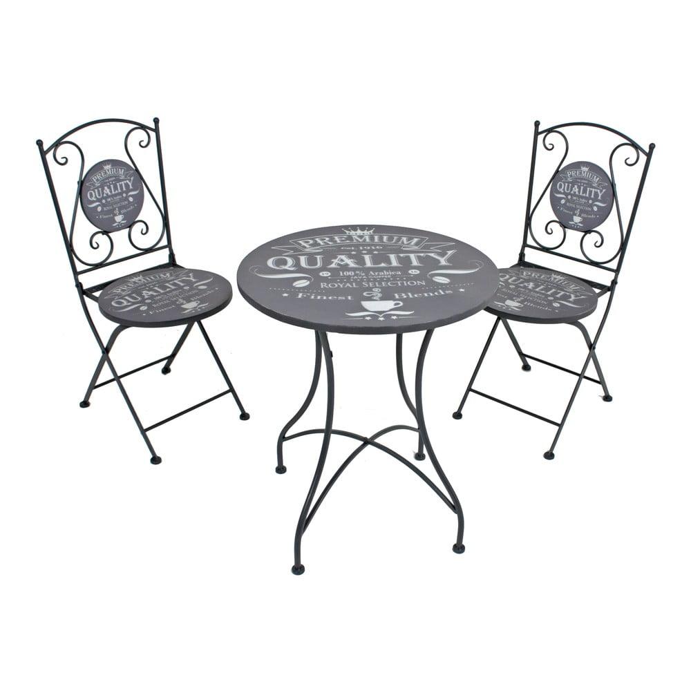 Zestaw 2 szarych krzeseł ogrodowych i stolika ADDU Royal