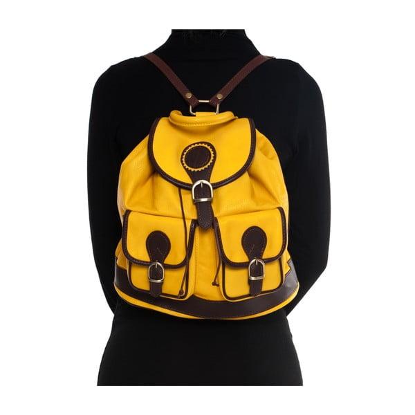 Skórzany plecak Mangotti 2038, żółty