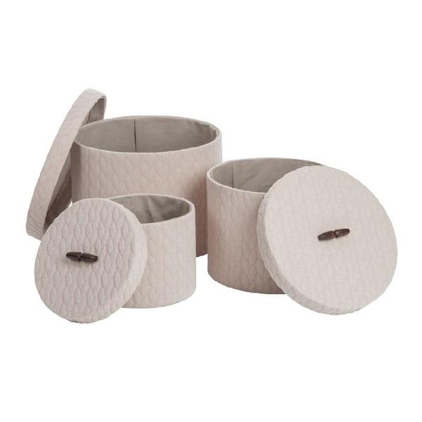 Zestaw 3 pudełek Cream Textile