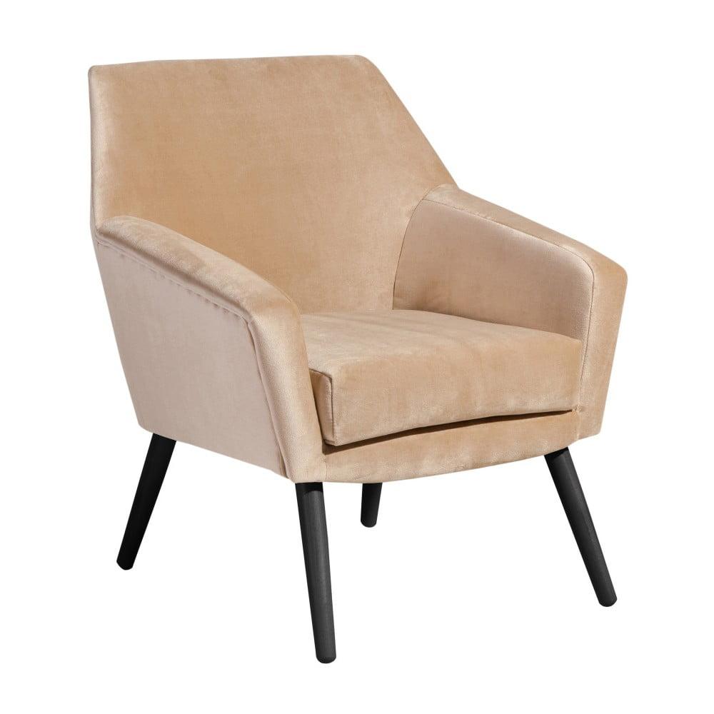 Beżowy aksamitny fotel z czarnymi nogami Max Winzer Alegro