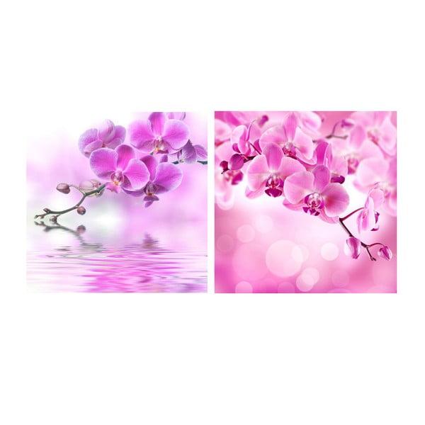 Zestaw obrazów na szkle Orchidee, 20x20 cm, 2 szt