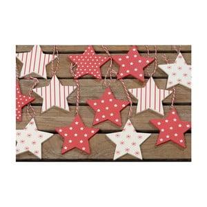 Zestaw 16 wiszących ozdób Winter Red Stars