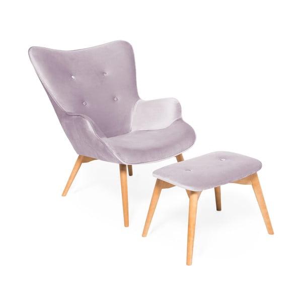 Lawendowy fotel z podnóżkiem i nogami w naturalnej barwie Vivonita Cora Velvet