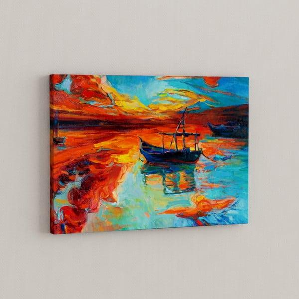 Obraz Łódź na jeziorze, 50x70 cm