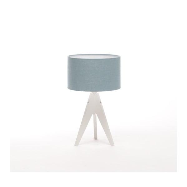Niebieska lampa stołowa Artista, biała lakierowana brzoza, Ø 25 cm