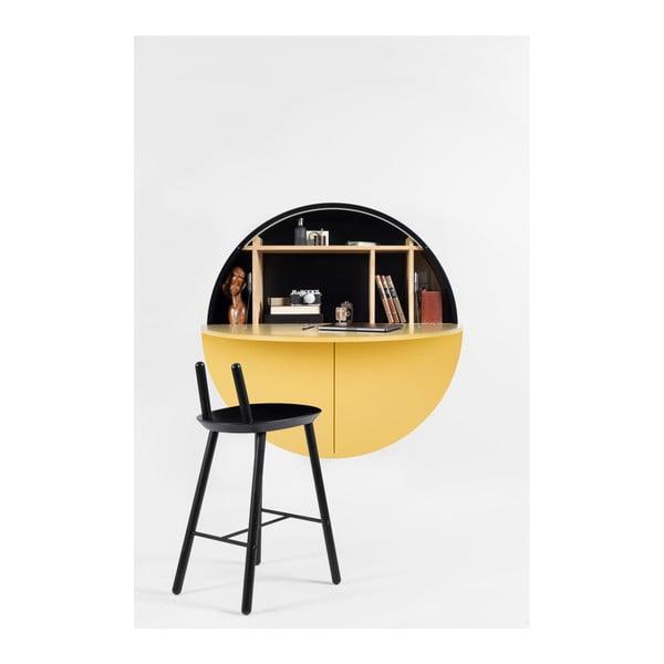 Czarno-żółte wielofunkcyjne biurko ścienne EMKO Pill