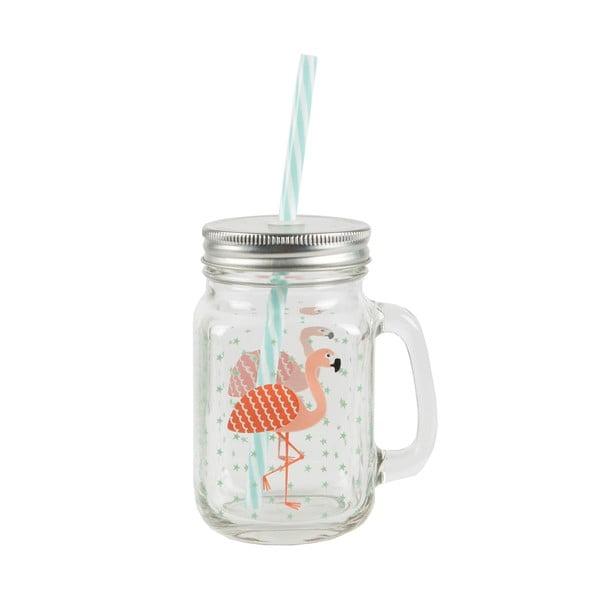 Szklanka ze słomką i wieczkiem Sass & Belle Flamingo