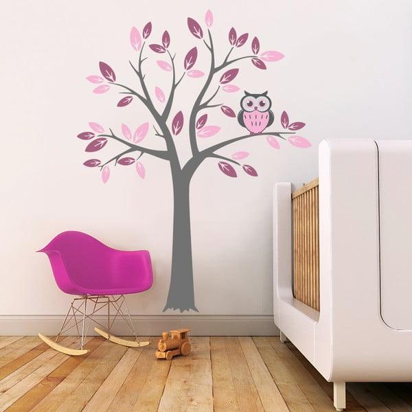 Naklejka ścienna Drzewo i różowa sowa, 2 arkusze, 70x50 cm