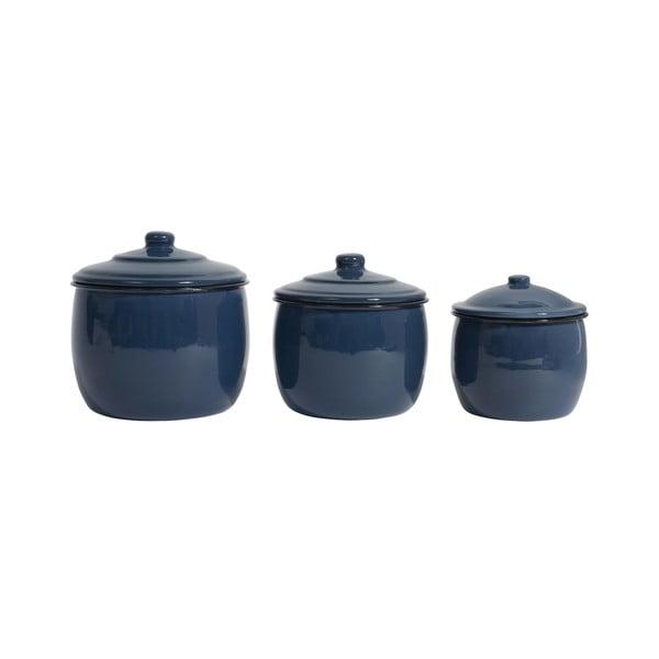 Zestaw 3 emaliowanych pojemników Madame, granatowy