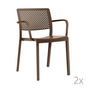 Zestaw 2 brązowych krzeseł ogrodowych z podłokietnikami Resol Trama