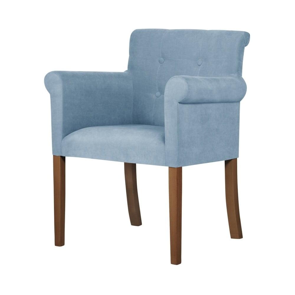 Jasnoniebieskie krzesło z ciemnobrązowymi nogami Ted Lapidus Maison Flacon