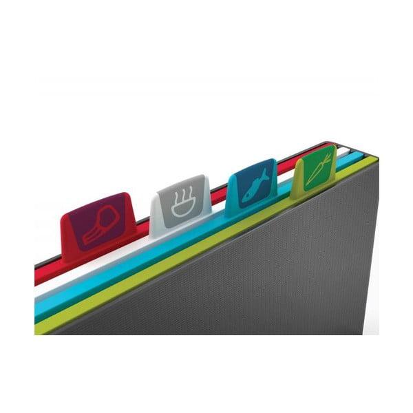 Antracytowy stojak z 4 deskami do krojenia Joseph Joseph Index, dł. 34 cm