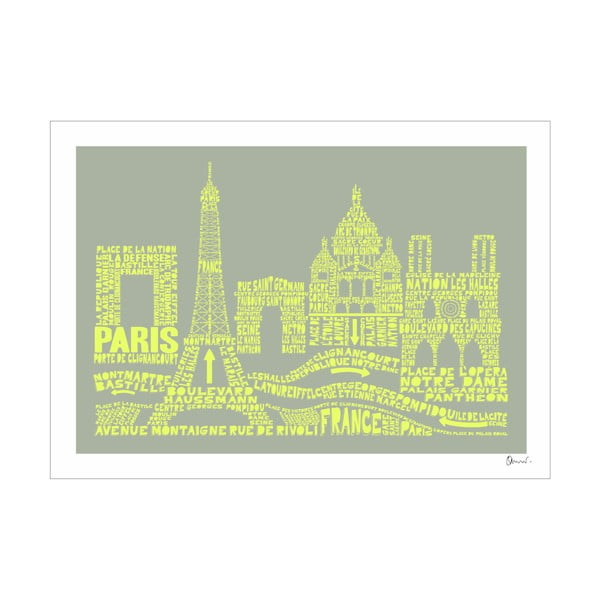 Plakat Paris Grey&Yellow, 50x70 cm
