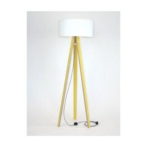 Żółta lampa stojąca z białym abażurem i czarno-białym kablem Ragaba Wanda
