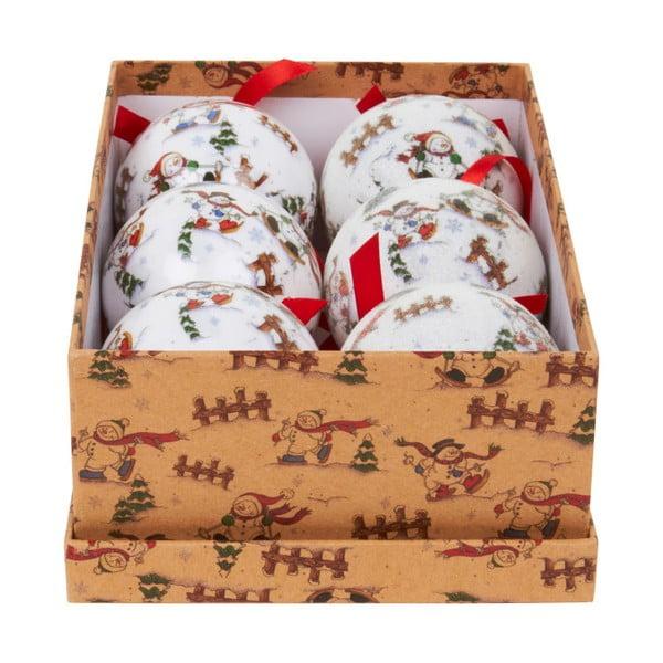 Zestaw 6 ozdób w pudełku Archipelago White Snowman Tree Baubles