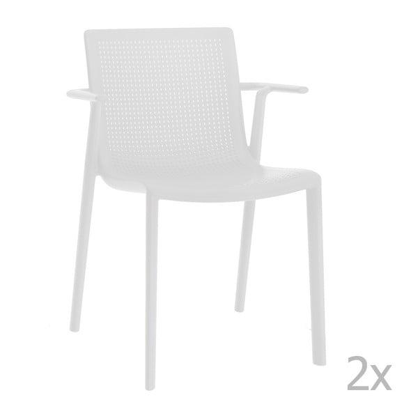 Zestaw 2 białych krzeseł ogrodowych z podłokietnikami Resol beekat
