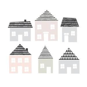 Zestaw 6 naklejek ściennych Dekornik Little Town