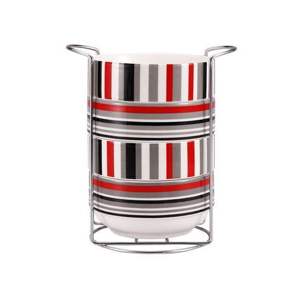 Zestaw misek Red Stripes ze stojakiem, 4 szt.