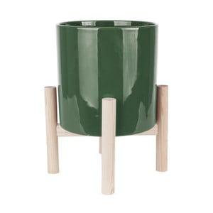 Zelený keramický květináč na podstavci z borovicového dřeva PT LIVING Trestle