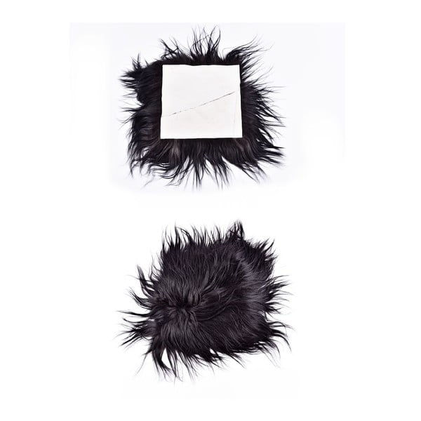 Ciemna poduszka futrzana do siedzenia z długim włosiem, 37x37 cm