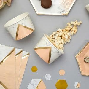 Zestaw 8 papierowych kubków deserowych Neviti Gold Colour Block Marble