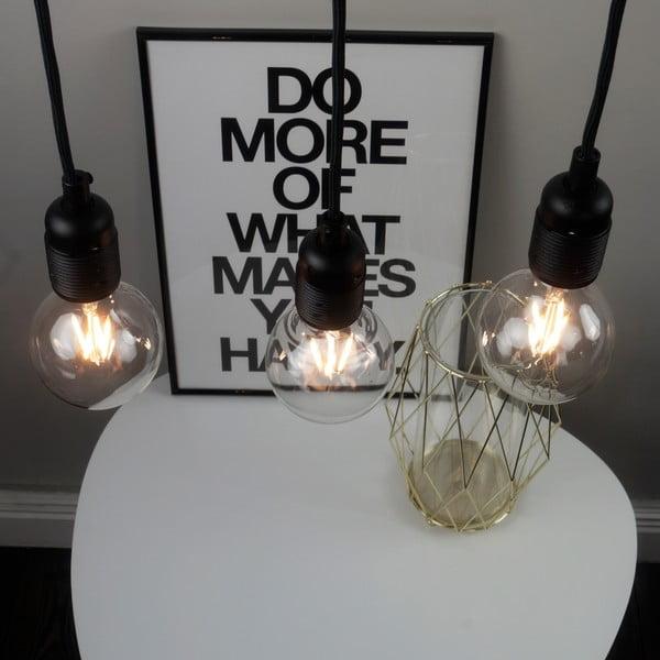 Czarna lampa wisząca z 3 kablami Bulb Attack Uno Basic