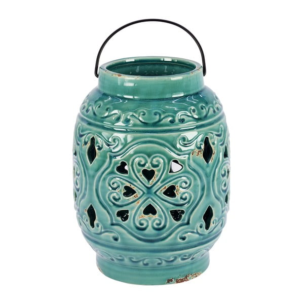 Lampion ceramiczny, turkusowy