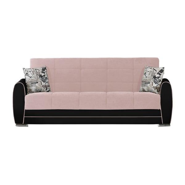 Jasnoróżowo-czarna trzyosobowa sofa rozkładana ze schowkiem Esidra Rest