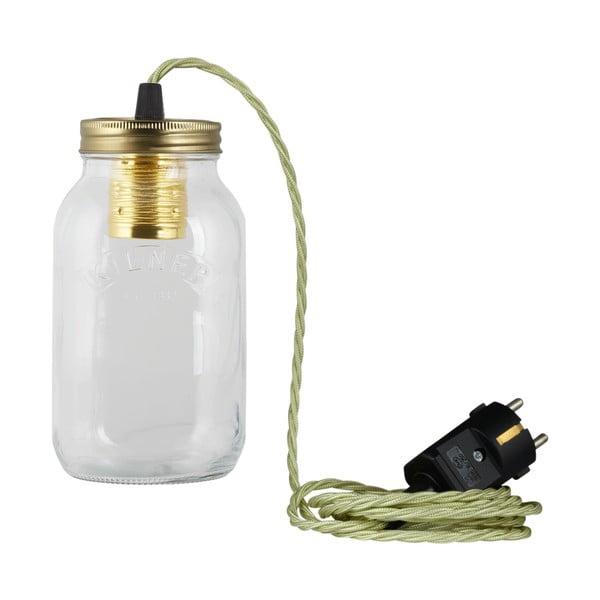 Lampa JamJar Lights, jasnozielony skręcony kabel