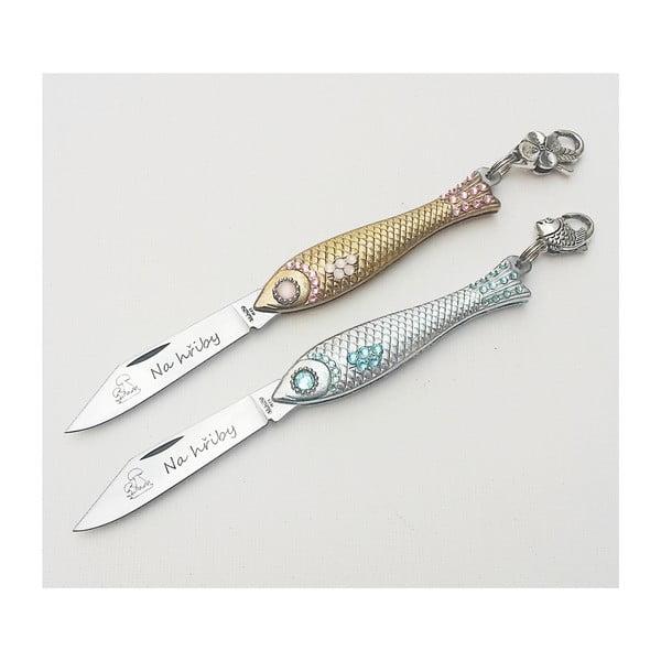 Zestaw scyzoryków rybek, złoty i srebrny z kryształami
