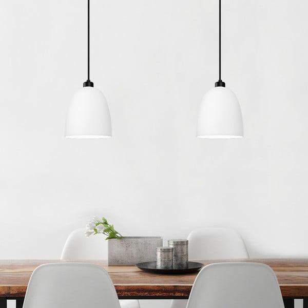Biała podwójna matowa lampa wisząca z czarnym kablem Sotto Luce Awa