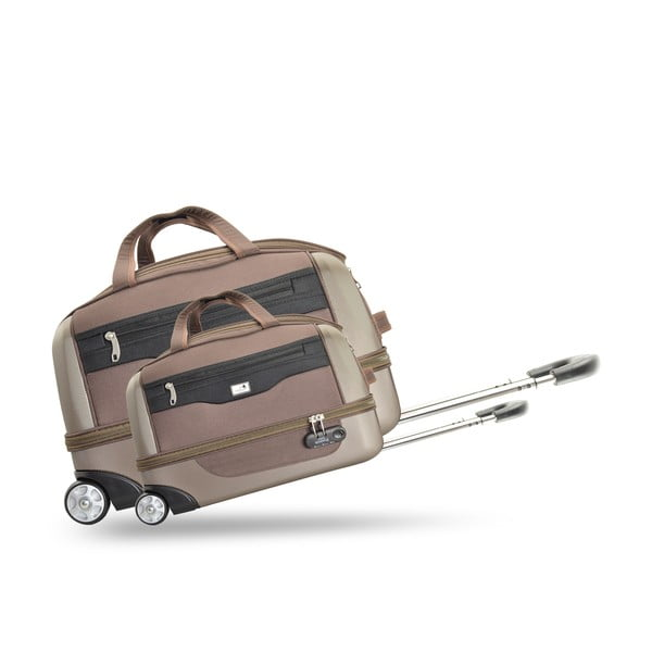 Komplet 2 walizek na kółkach Roulettes Brown
