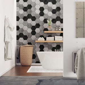 Zestaw 28 naklejek Ambiance Hexagons Marble