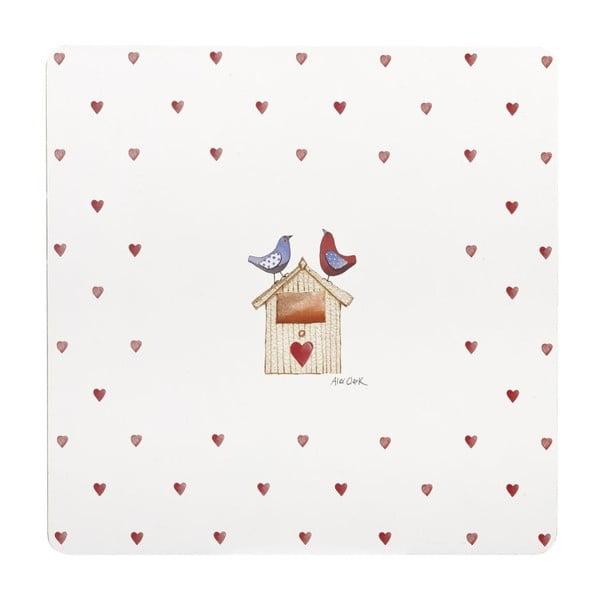 Komplet 4 mat stołowych Lovebirds, 29x29 cm