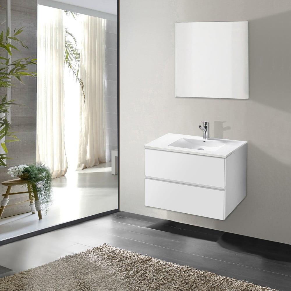 Szafka Do łazienki Z Umywalką I Lustrem Flopy Odcień Bieli 60 Cm Bonami