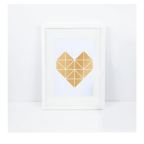 Plakat Origami Herz Gold, A3