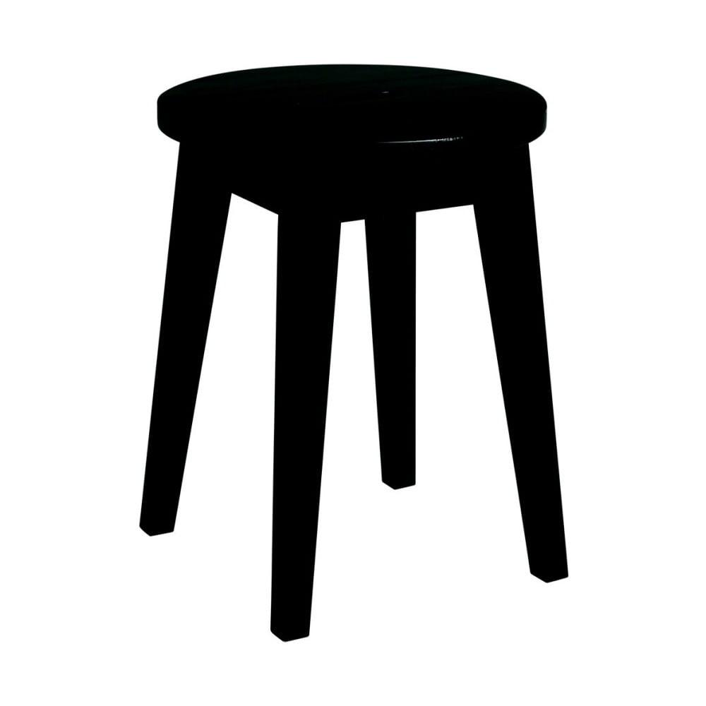 Czarny niski stołek z drewna dębowego Rowico Frigg