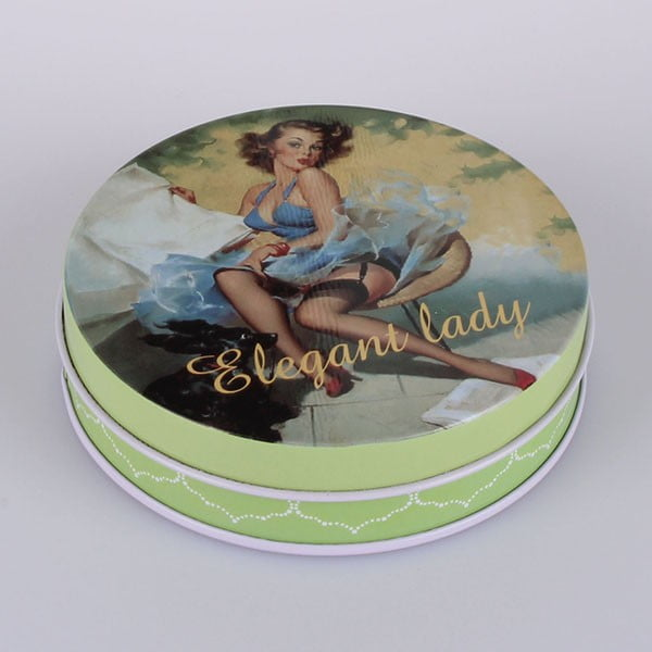 Blaszany pojemnik Elegant Lady Blue