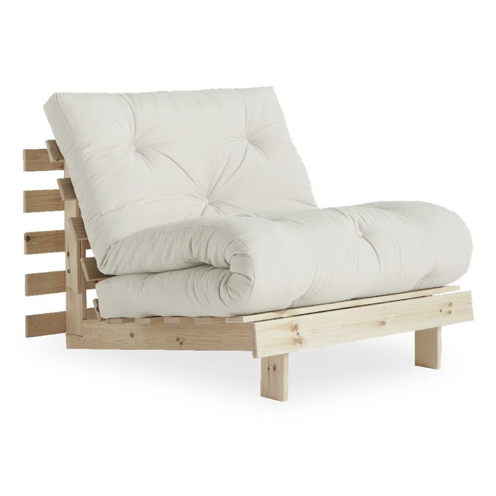 Fotel rozkładany z lnianym pokryciem Karup Design Roots Raw/Natural