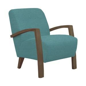 Turkusowy fotel z ciemnymi podłokietnikami Helga Interiors Emilia
