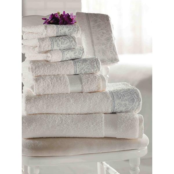 Komplet pościeli z prześcieradłem i ręcznikami Alida Ecru Silver, 200x220 cm